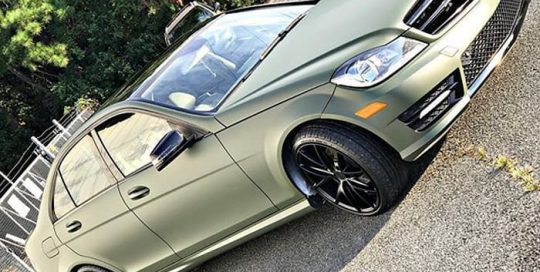 Mercedes C Class wrapped in 3M 1080 Matte Military Green vinyl
