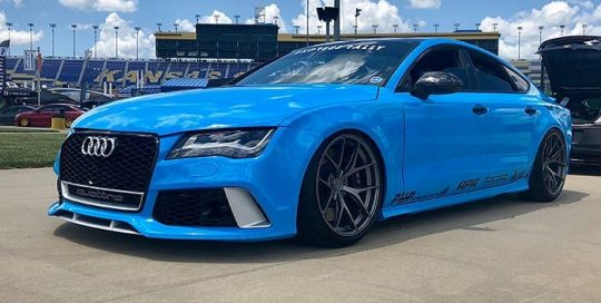 Audi RS7 wrapped in the new Avery Gloss Light Blue viny