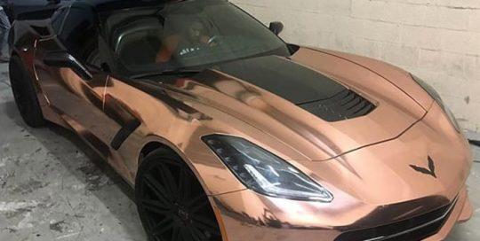 Chevrolet Corvette wrapped in Avery SW Rose Gold Chrome vinyl
