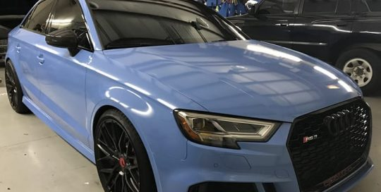 Audi RS3 wrapped in new Avery Gloss Smoky Blue vinyl