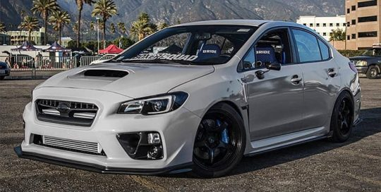 Subaru Wrx wrapped in Avery SW Gloss Grey vinyl