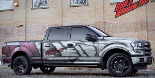 Ford Truck wrapped in custom printed 3M IJ180mC-120 Satin White Aluminum vinyl with 8520 Matte laminate