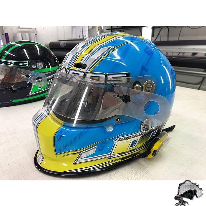 Helmet wrapped in custom printed Oracal 3951RA vinyl