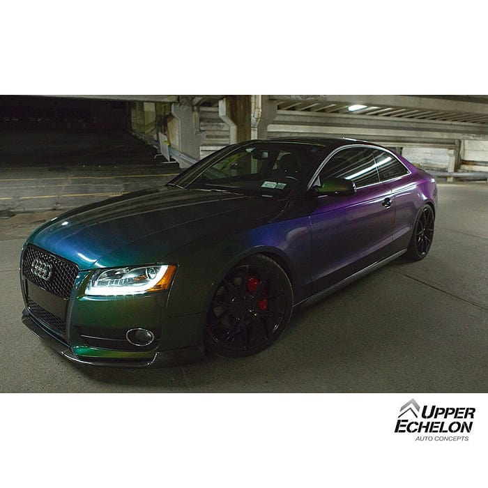 Audi wrapped in Avery Gloss Urban Jungle Silver/Green/Purple shade shifting vinyl