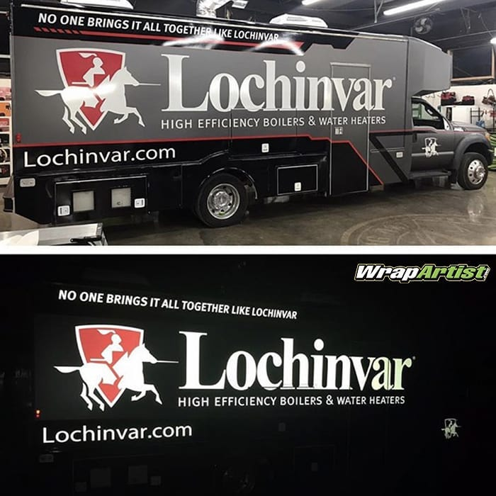 Commercial Truck wrapped in 3M 1080 Matte Dark Gray, Gloss White Aluminum, Gloss Black, Hot Rod Red, and custom printed 780mC Reflective vinyls