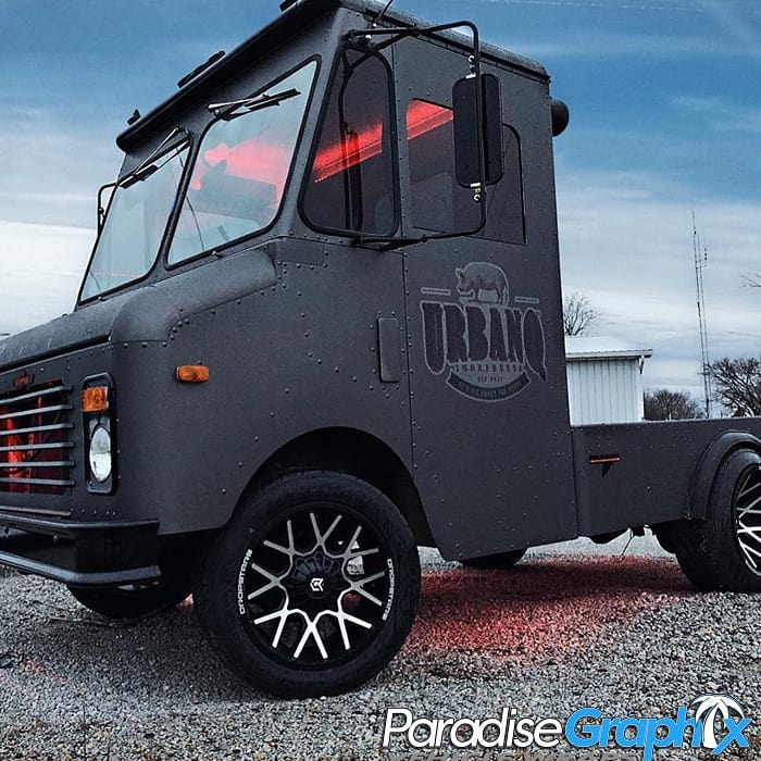 Food Truck wrapped in Avery SW900 Matte Charcoal Metallic with 3M IJ180C vinyls