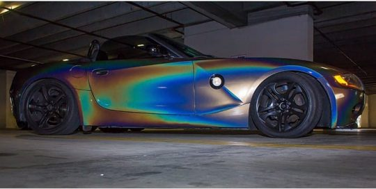 Bmw Z4 wrapped in 3M Gloss ColorFlip Psychedelic shade shifting vinyl