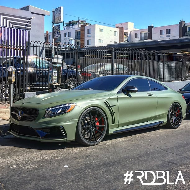 Mercedes benz S63 wrapped in 3M 1080 Matte Military Green vinyl
