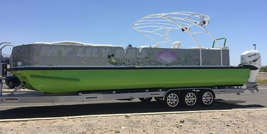 Boat wrapped in custom printed 3M IJ180mC-120 Satin White Aluminum vinyl