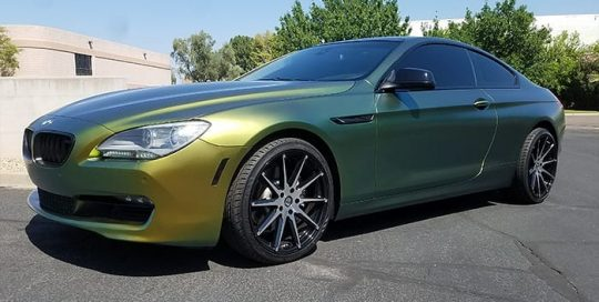 Bmw 640i wrapped in Avery ColorFlow Satin Fresh Spring Gold/Silver shade shifting vinyl