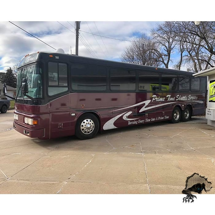Bus wrapped in custom printed Oracal 3751RA and 290 Gloss