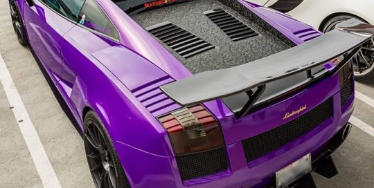 Lamborghini Gallardo wrapped in 3M 1080 Gloss Plum Explosion and Shadow Black vinyls