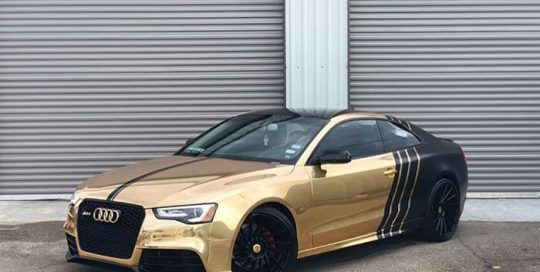 Audi S5 wrapped in Avery SW Gold Chrome and Satin Black vinyls