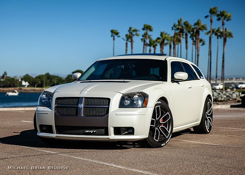 Dodge Magnum wrapped in 3M 1080 Satin Pearl White vinyl