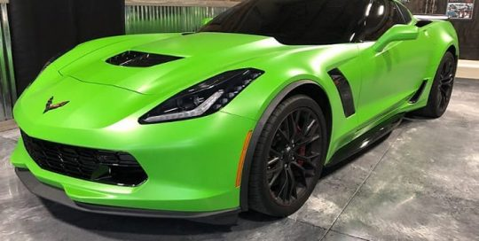 Chevrolet Corvette Z06 wrapped in 3M 1080 Satin Apple Green vinyl