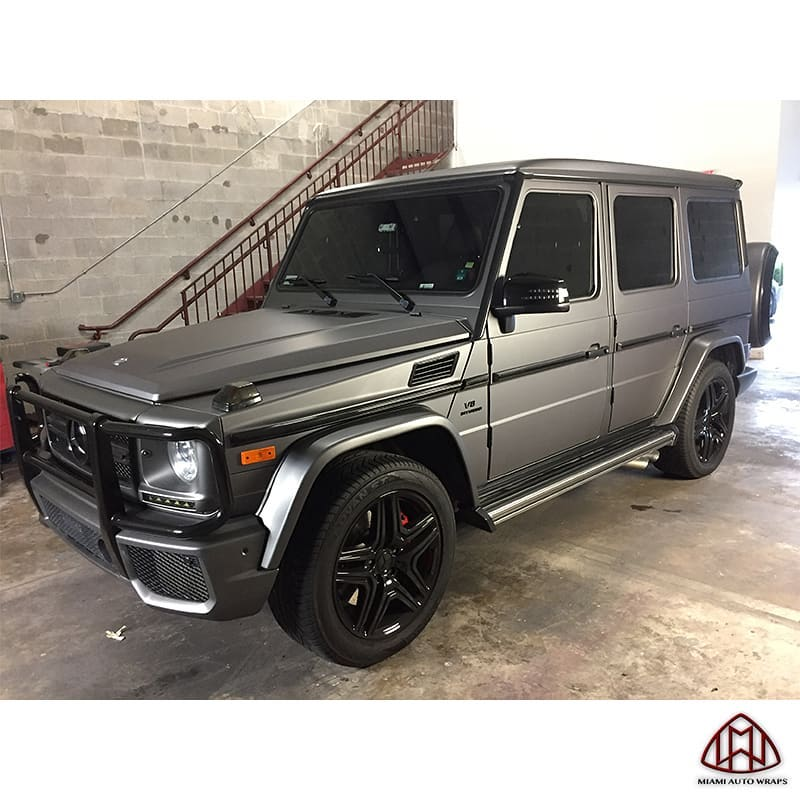 Mercedes Benz Gwagon wrapped in Avery SW Matte Charcoal Metallic and Gloss Black vinyls
