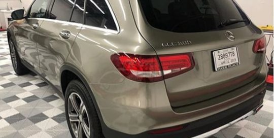 Mercedes GLC300 wrapped in Orafol 970RA Gloss Zinc Metallic vinyl
