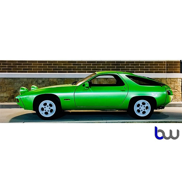 Porsche 98s wrapped in Avery SW Gloss Light Green Pearlescent vinyl