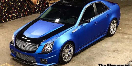 Cadillac CTS wrapped in 3M 1080 Matte Blue Metallic & Gloss Black