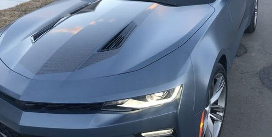 Chevrolet Camaro wrapped in 3M 1080 Satin Thundercloud vinyl