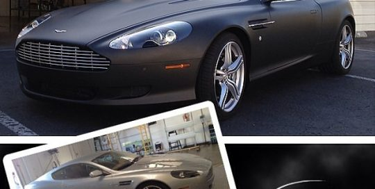 Aston Martin wrapped in from silver to 1080 Matte Black