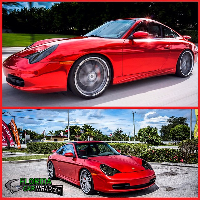Porsche 911 carrera wrapped in Avery Red Chrome vinyl
