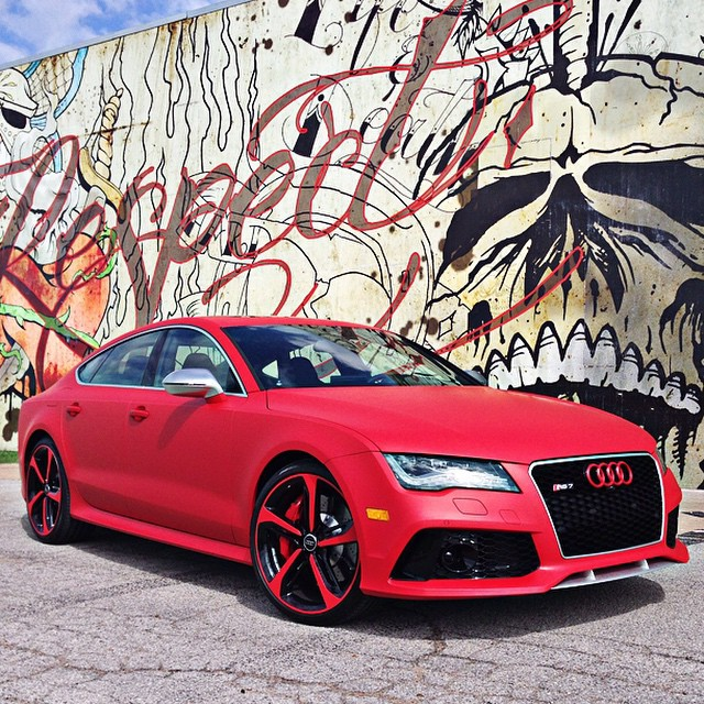 Audi RS7 wrapped in UPP Matte F1 Racing Red vinyl