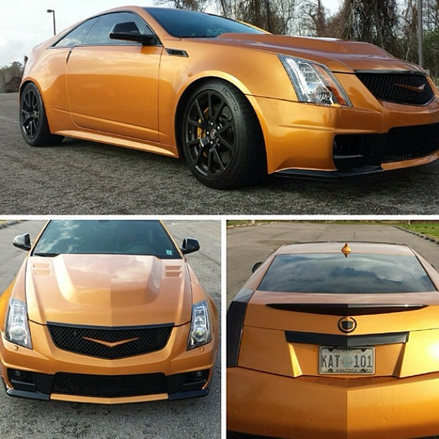 Cadillac CTS wrapped in Arlon 2300X Citrine Candy