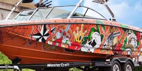 Boat wrapped in custom printed 180Cv3