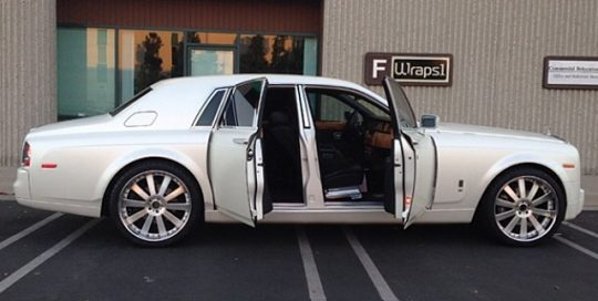 Rolls Royce Ghost wrapped in 1080 Satin Pearl White on silver original paint