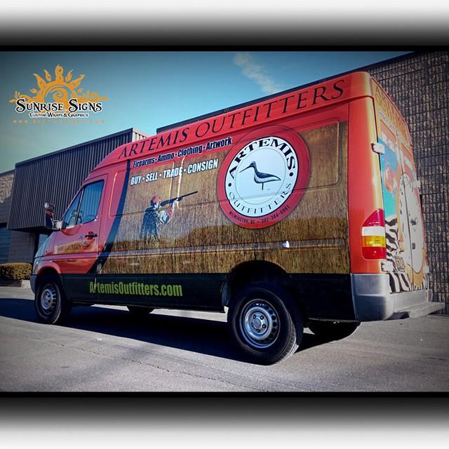 Van wrapped in Custom printed on Avery 1005 vinyl