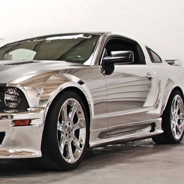 Ford Mustang wrapped in Avery Conform Chrome