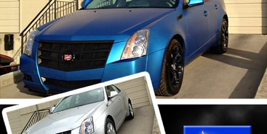 Cadillac CTS wrapped in 1080 Matte Blue Metallic vinyl