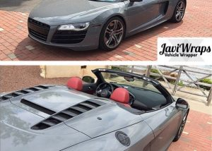 Audi R8 wrapped in Avery SW Gloss Dark Grey vinyl