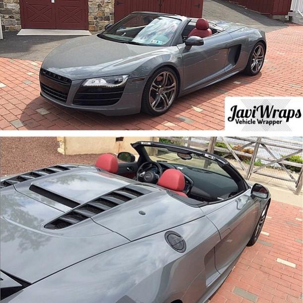 Audi R8 wrapped in Avery SW Gloss Dark Grey vinyl