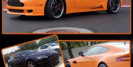 Astro Martin wrapped in 1080 Matte Orange and Matte Black vinyl