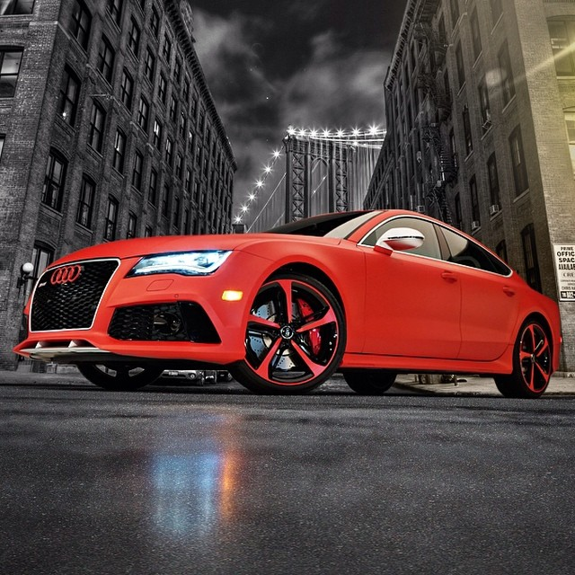 Audi wrapped in UPP Matte F1 Racing Red vinyl