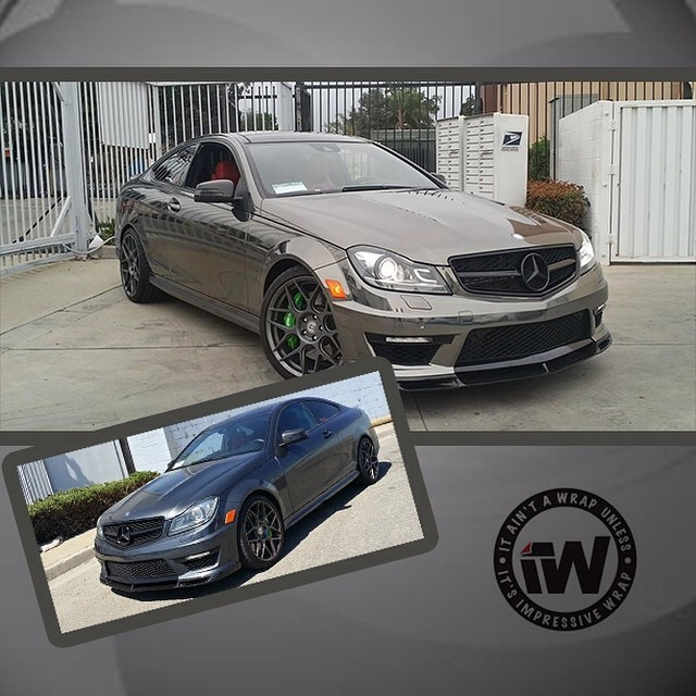 Mercedes Benz C63 wrapped in Avery Black Chrome vinyl