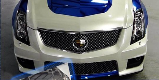 Cadillac CTVS wrapped in Avery White Pearlescent and Blue Chrome vinyl