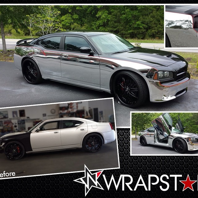 Dodge Charger SRT8 wrapped in Avery SW Chrome and Gloss Black vinyl