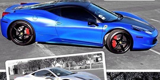 Ferrari 458 Italia wrapped in Avery Conform Chrome Blue and 1080 Satin Black vinyl