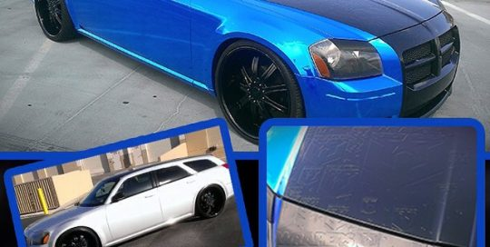 Dodge Magnum wrapped in Avery Blue Chrome vinyl, Black Carbon Fiber, Gloss Black and additional cut vinyl