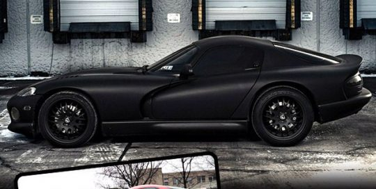 Dodge Viper wrapped in 1080 Matte Black vinyl