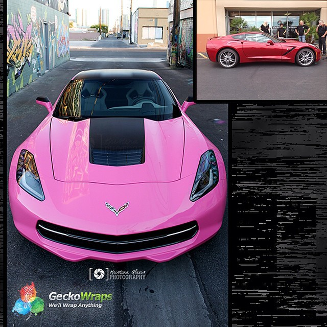 Porsche Corvette wrapped in 1080 Gloss Pink vinyl