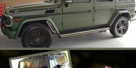 Mercedes Gwagon wrapped in 1080 Matte Military Green vinyl