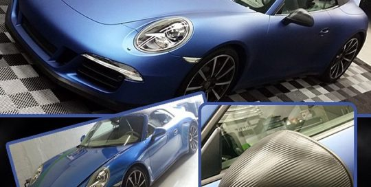 Porsche Carrera wrapped in 2600LX Matte Deep Ocean vinyl and Carbon Fiber vinyl. Beautifully done