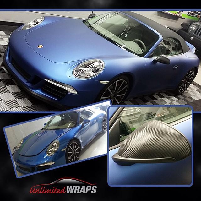Porsche Carrera wrapped in 2600LX Matte Deep Ocean vinyl and Carbon Fiber vinyl. Beautifully done