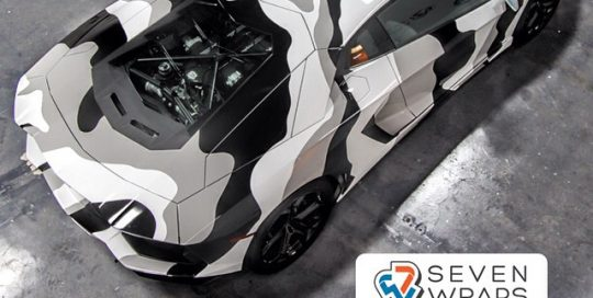 Lamborghini Aventador wrapped in Avery SW Gloss Grey and Gloss Black vinyl