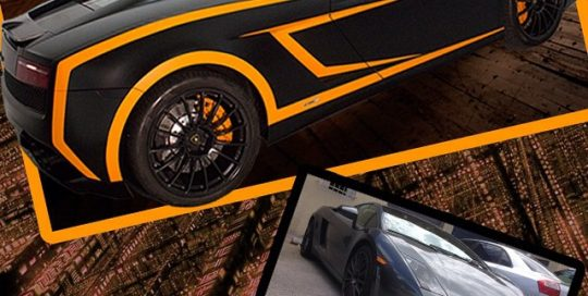 Lamborghini Gallardo wrapped in Satin Black, Matte Orange and Gloss Black vinyl