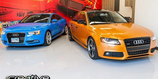 Audi wrapped in Avery SW Intense Blue or SW Gold Orange Pearl vinyl